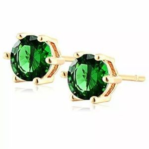ROUND CUT GREEN EMERALD GOLD PLATED STUD EARRINGS